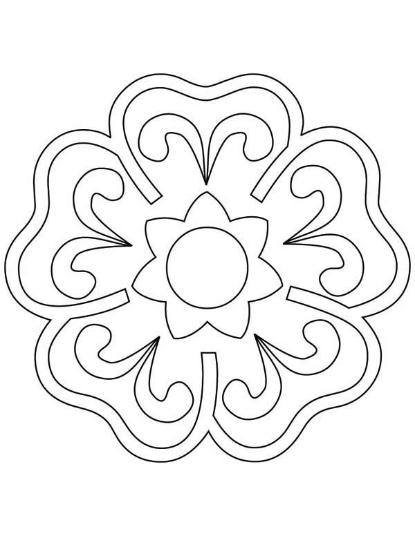 Blooming Flower Rangoli Coloring Page