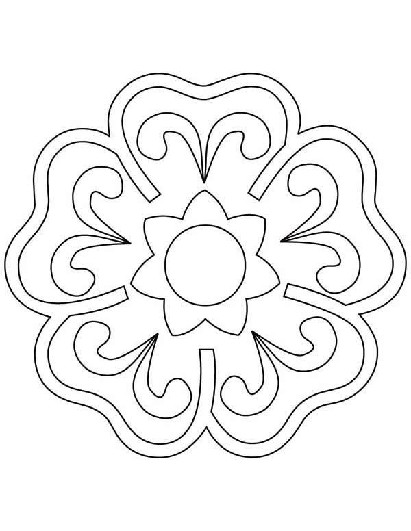 Blooming Flower Rangoli Coloring Page Netart