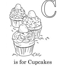 C is for Cupcake Coloring Page