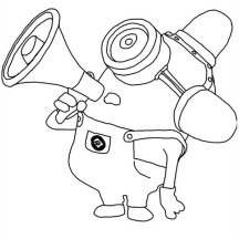 Carl Mimicking Fire Truck Siren in Despicable Me Coloring Page