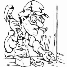 Carpenter Making a Table in Community Helpers Coloring Page