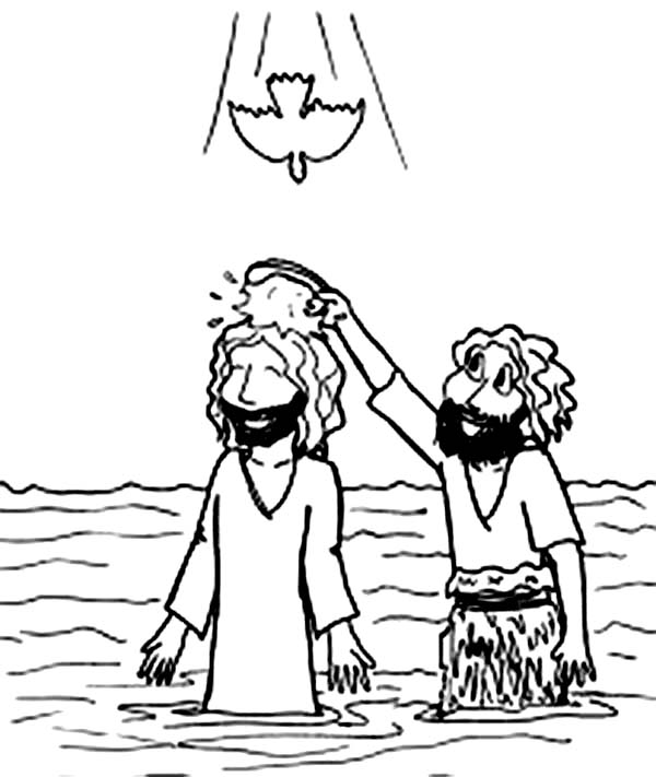 Cartoon Jesus Baptism in John the Baptist Coloring Page