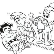 Cartoon of Good Samaritan Story Coloring Page