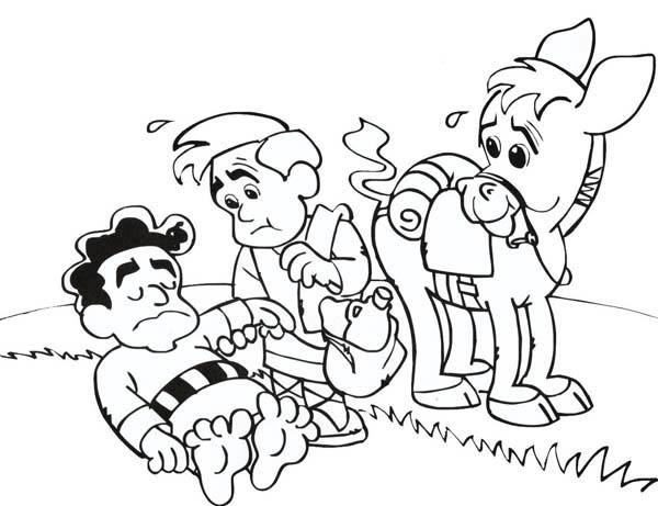 Cartoon of Good Samaritan Story Coloring Page