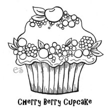 Cherry Berry Cupcake Coloring Page