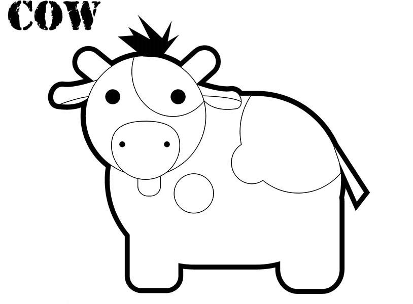 Chibi Cow Coloring Page