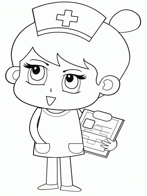 Chibi Nurse Coloring Page