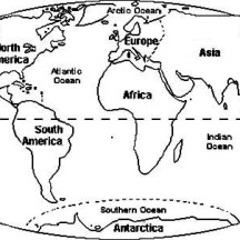 Circle World Map Coloring Page