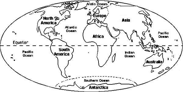 Circle World Map Coloring Page