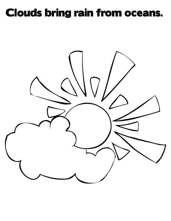 Clouds Bring Rain from Oceans Coloring Page