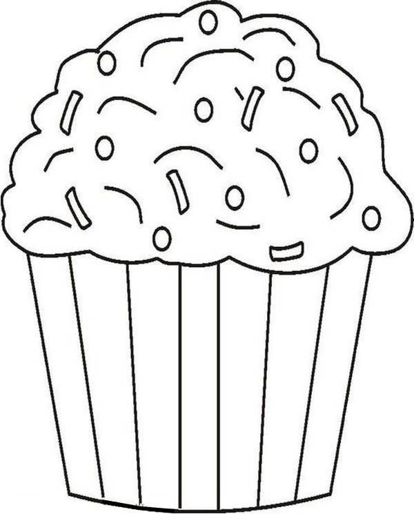 Cupcake and Chocolate Sprinkles Coloring Page