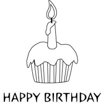 Cupcake for Birthday Coloring Page