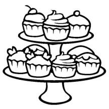 Cupcake on Racks Coloring Page