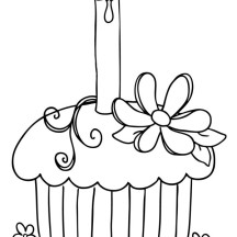 Cupcake with Candle on Top Coloring Page