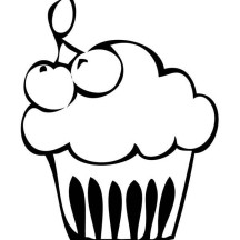 Cupcake with Cherry on Top Coloring Page