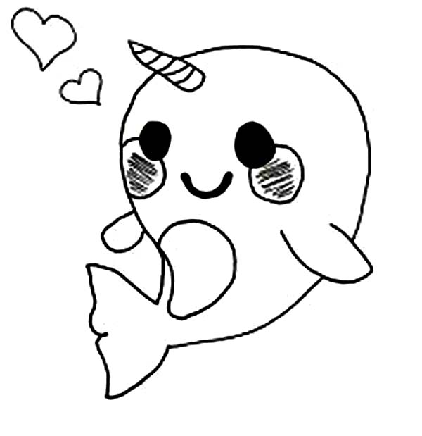 Cute Baby Narwhal Coloring Page