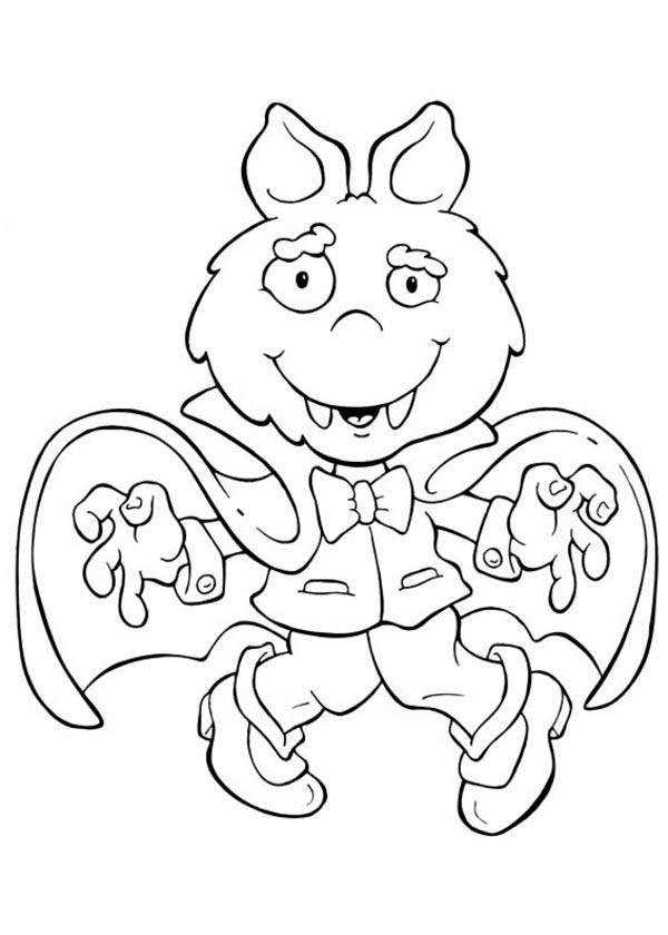 Cute Dracula in Funschool Halloween Coloring Page