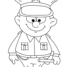 Cute Little Police Officer Picture Coloring Page