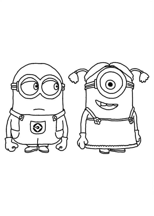 Dave and Stuart as a Girl in Despicable Me Coloring Page ...
