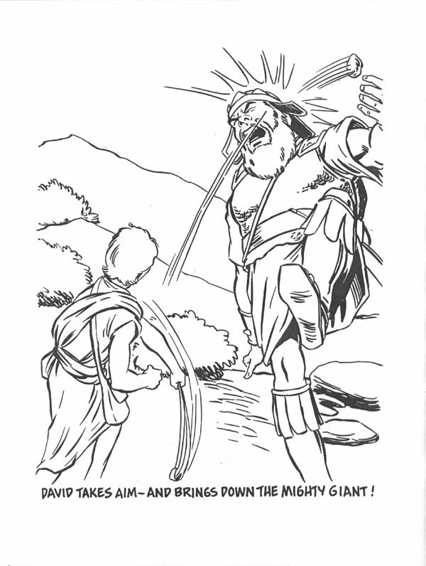 David Bring Down the Giant in the Story of King Saul Coloring Page