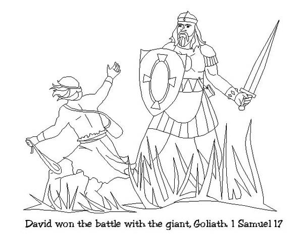 David Won the Battle with Goliath in the Story of King Saul Coloring Page