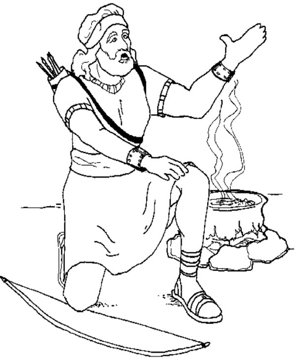 David in the Battle of Gilboa in the Story of King Saul Coloring Page