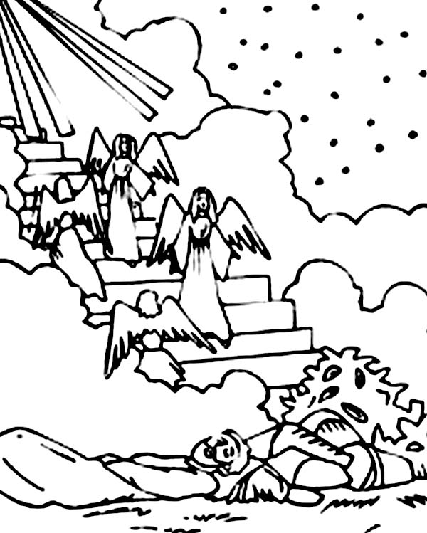 Depiction of Jacobs Ladder in Jacob and Esau Coloring Page