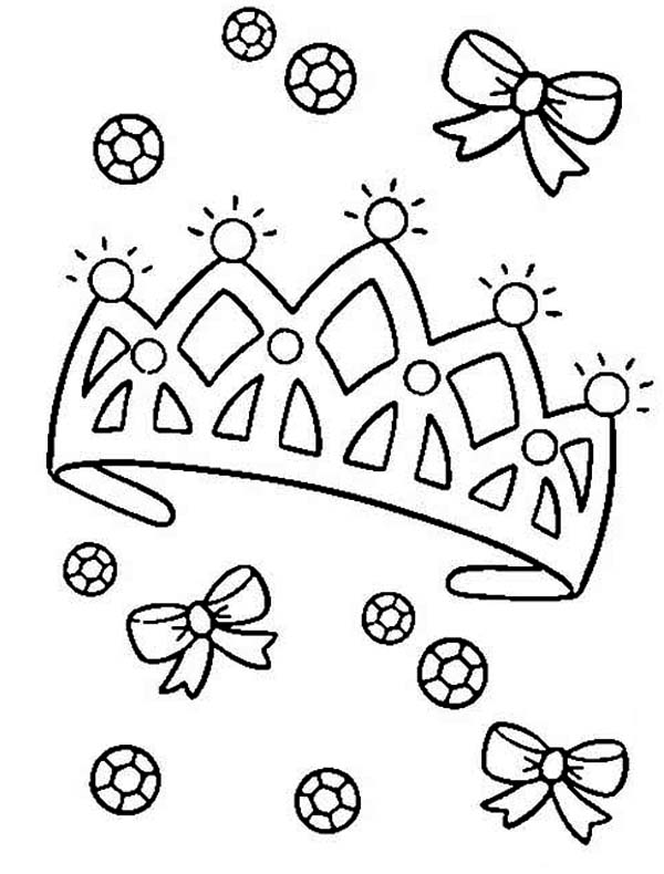Diamond on Princess Crown Coloring Page