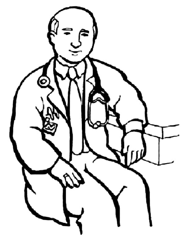 Doctor Waiting for Patient in Community Helpers Coloring Page