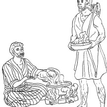Esau Want a Bowl of Stew in Jacob and Esau Coloring Page