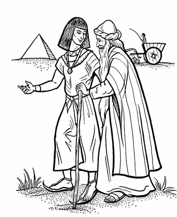 Esau and Isaac Walking Together in Jacob and Esau Coloring Page