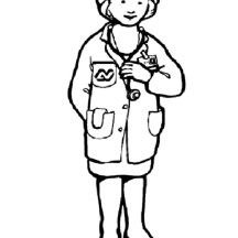 Female Doctor in Community Helpers Coloring Page