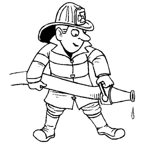 Fireman Extinguishing Fire in Community Helpers Coloring Page