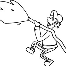 Fireman Spraying Water in Community Helpers Coloring Page