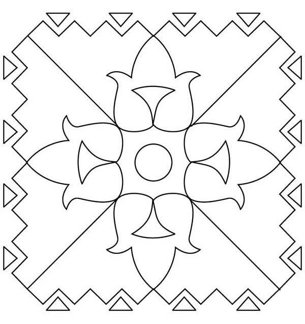 Flower Pattern Rangoli Coloring Page