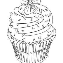 Flower Topping Cupcake Coloring Page