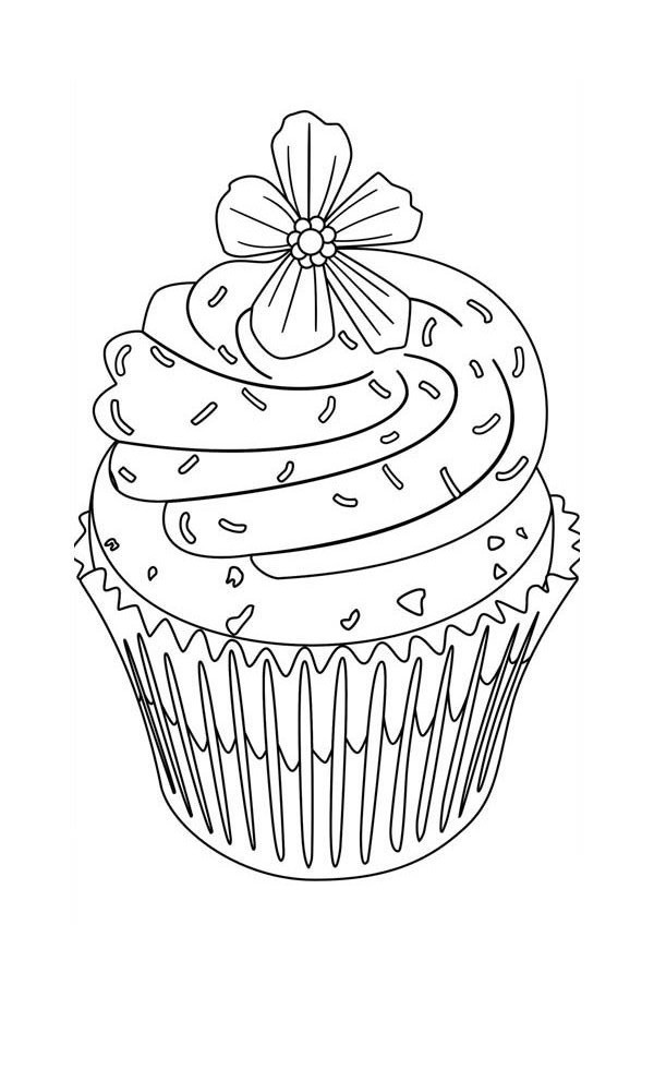 Flower Topping Cupcake Coloring