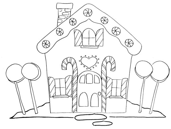 Gingerbread House And Four Big Lollipop Coloring Page Netart