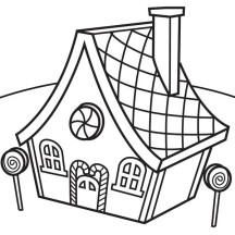 Gingerbread House and Lollipop Coloring Page