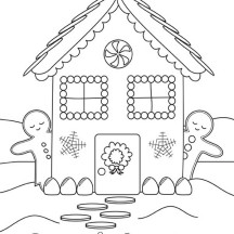 Gingerbread House and Two Gingerbread Man Coloring Page