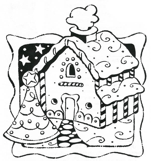 Gingerbread House on Christmas Card Coloring Page