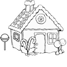 Gingerbread House on Snow Coloring Page