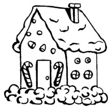 Gingerbread House with Candy Cane in Front Coloring Page