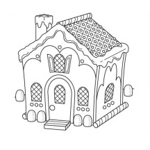 Gingerbread House with Chimney Coloring Page