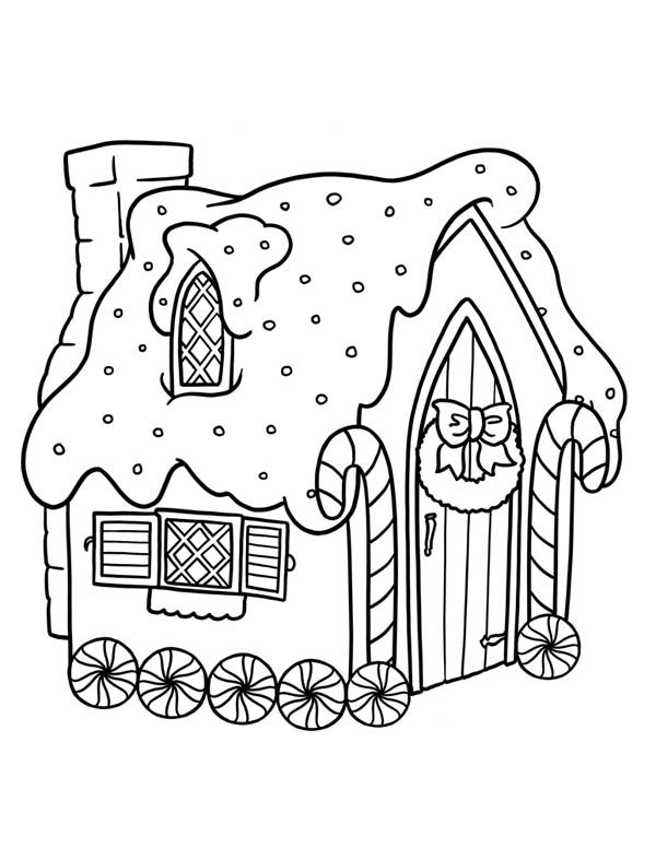 Gingerbread House with Wheel Coloring Page