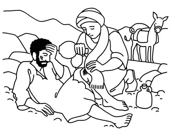 Good Samaritan Aid Travellers Wound Coloring Page