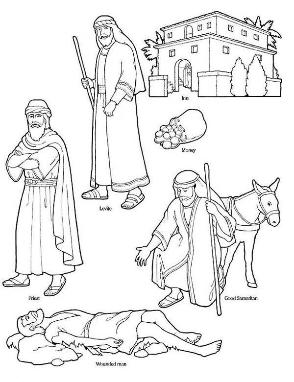 Good Samaritan Character In The Bible Coloring Page Netart
