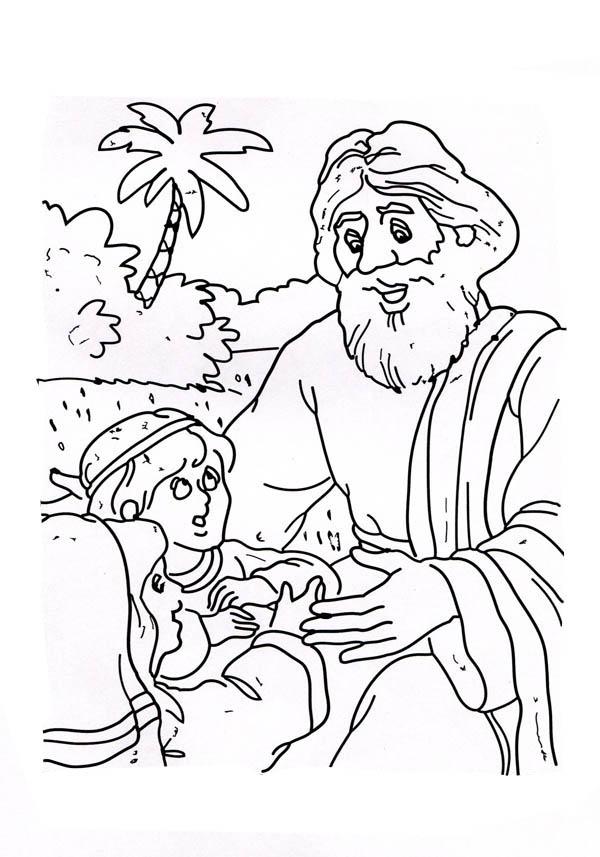Good Samaritan Help a Little  Kid Coloring Page