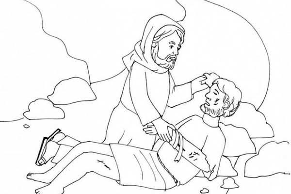 Good Samaritan Helping Coloring Page