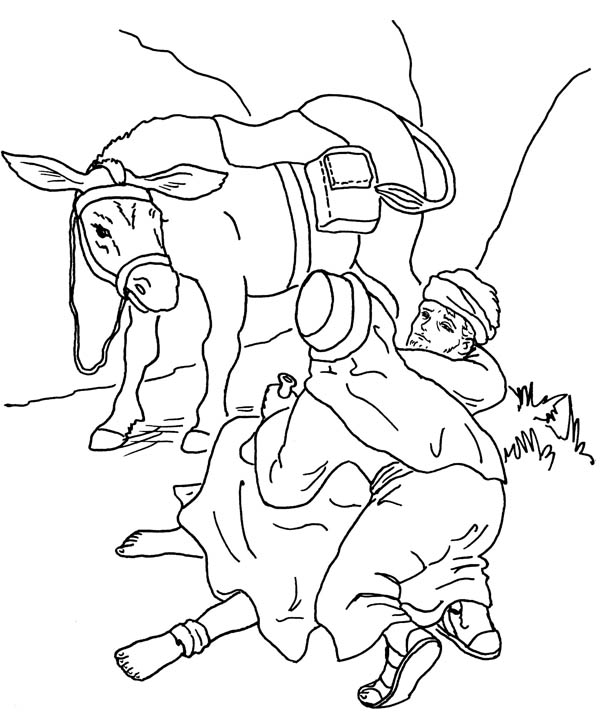 Good Samaritan Lifting Traveller from the Road Coloring Page